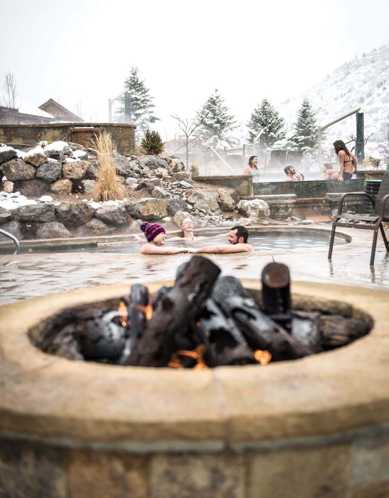Soaking on a winter day at Iron Mountain Hot Springs
