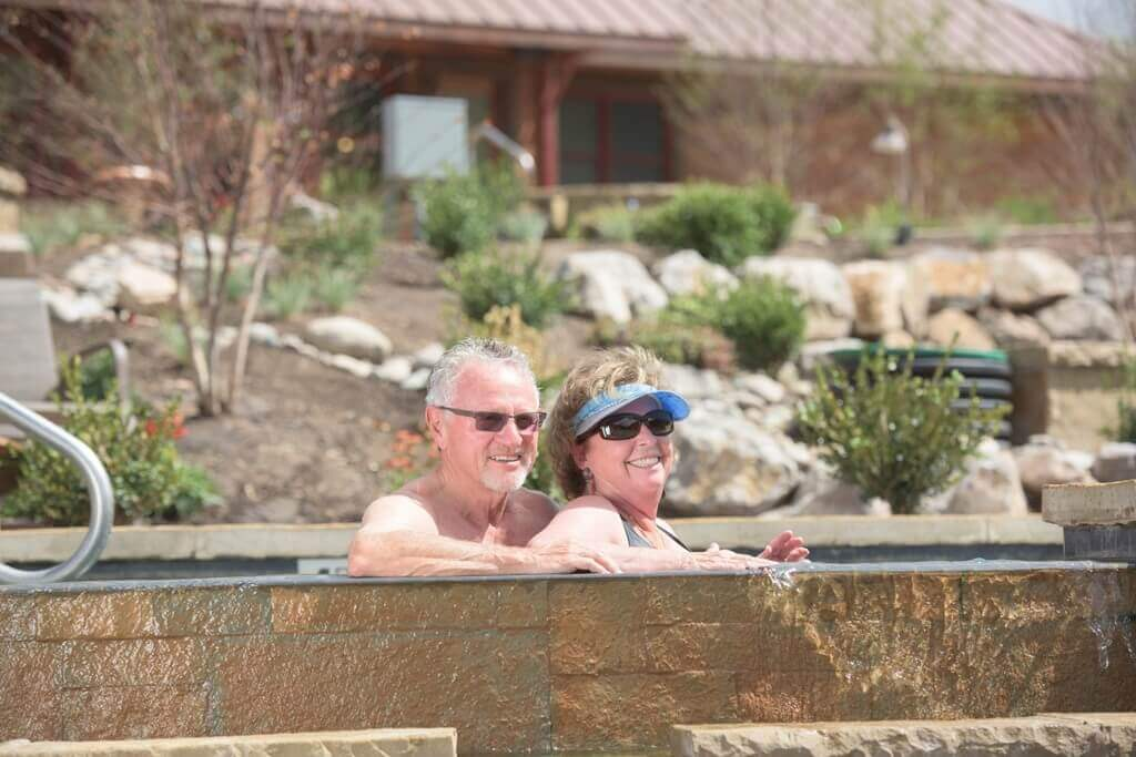 Seniors enjoy a soothing hot springs soak