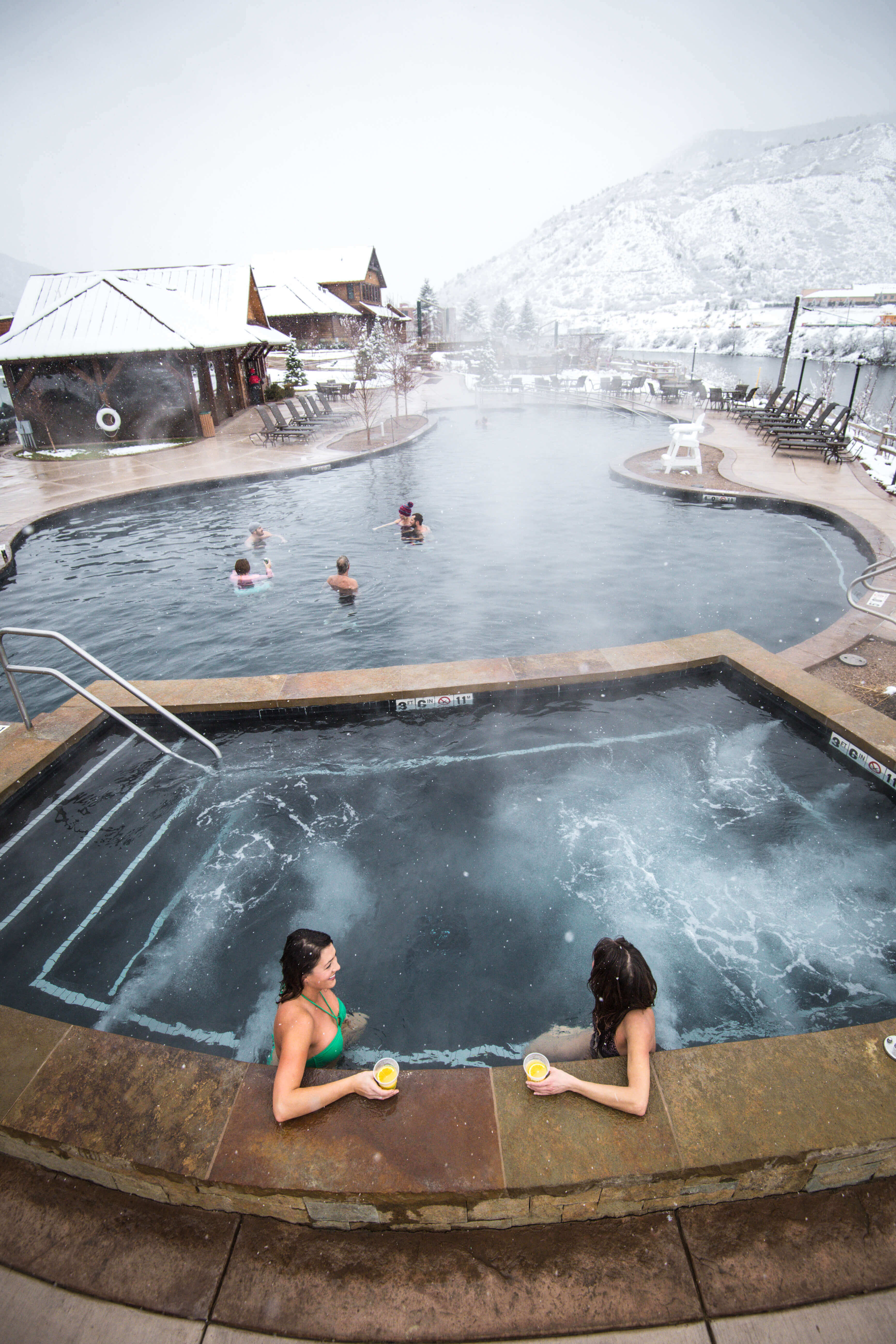 Relaxing at Iron Mountain Hot Springs in winter