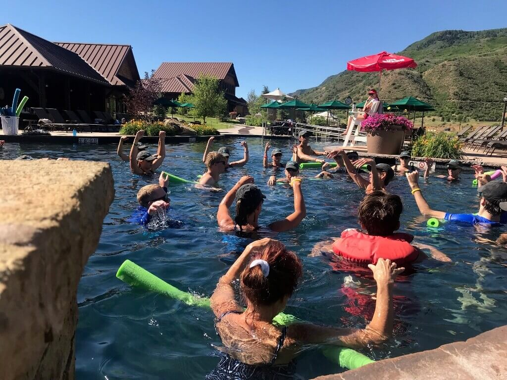 Helping spine-injured athletes in NFT class at Iron Mountain Hot Springs