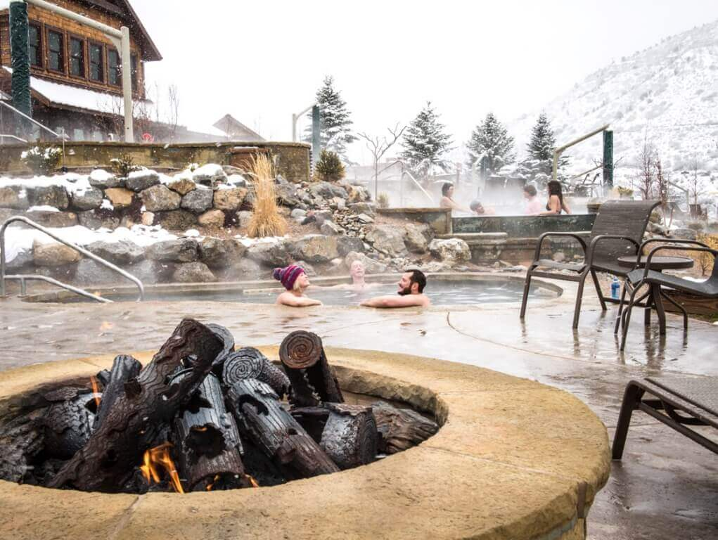 Fire pits add to ambiance at Iron Mountain Hot Springs