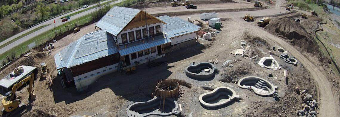 Aerial view of Iron Mountain Hot Springs during construction