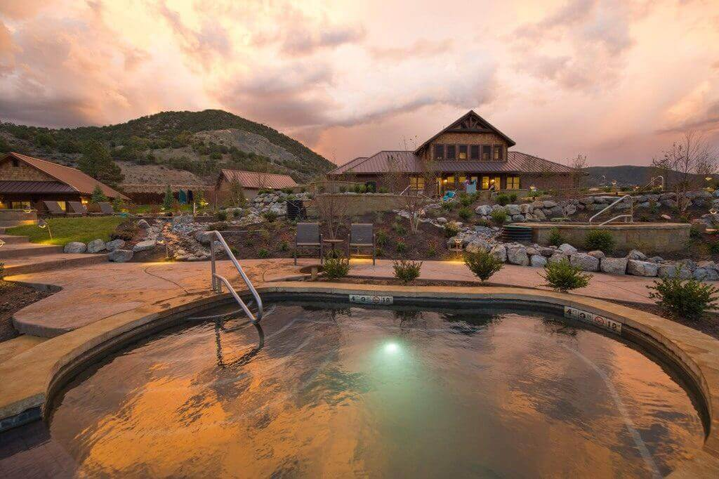 Iron Mountain Hot Springs at sunset