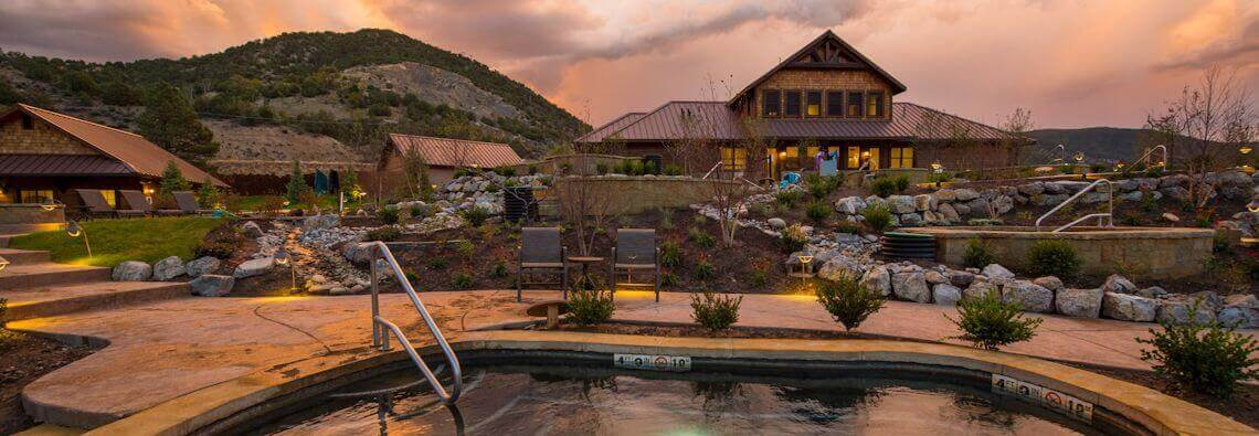 Iron Mountain Hot Springs in the evening in Glenwood Springs
