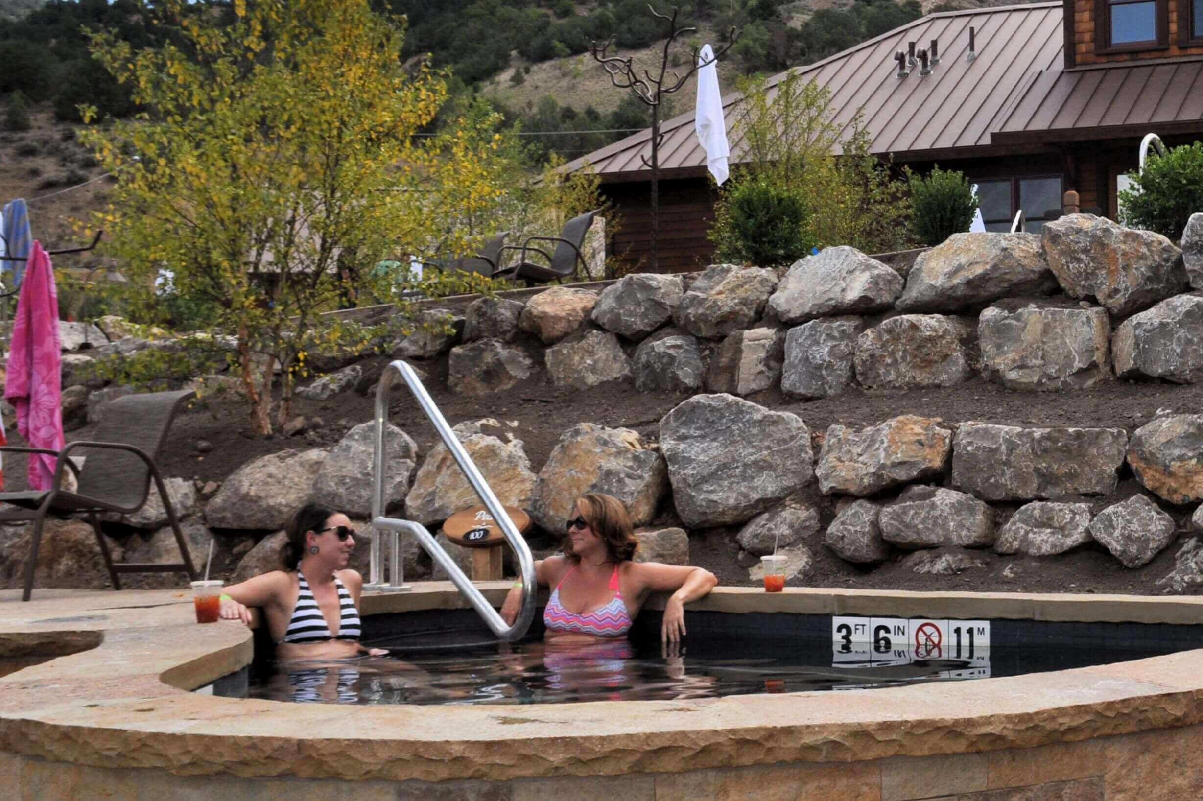 Ladies soaking at Iron Mountain Hot Springs