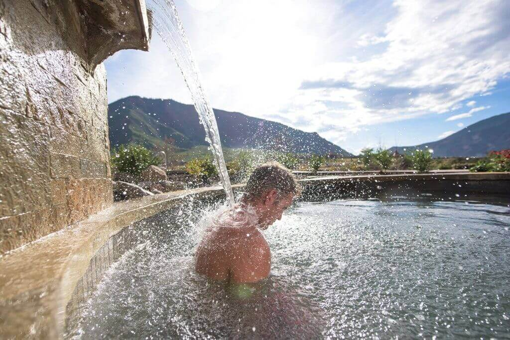 For maximum health benefits alternate soaking in Iron Mountain Hot Springs with a cooling shower at the Rejuvenation Station