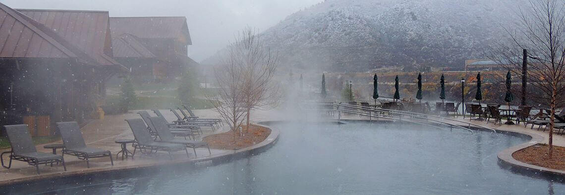 Snowy winter day at Iron Mountain Hot Springs