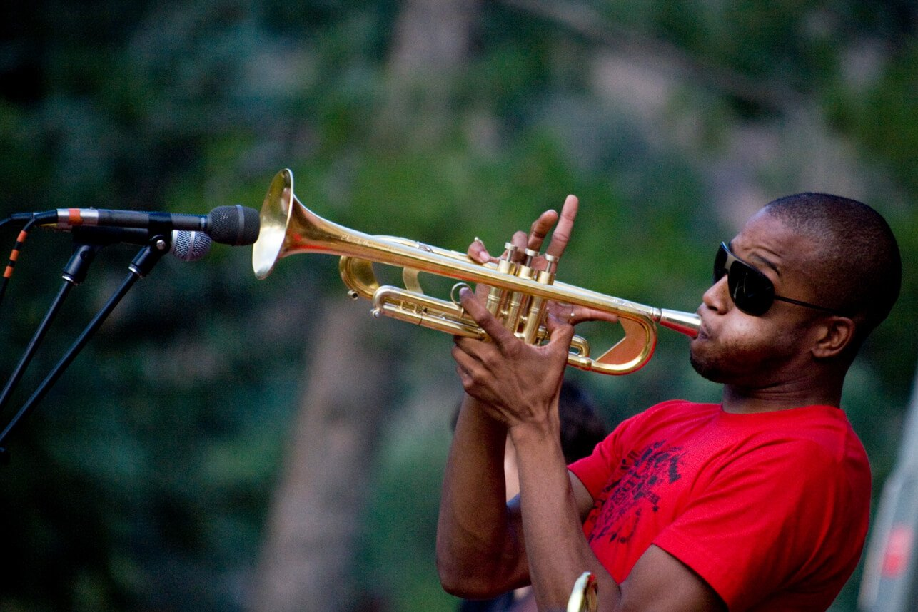Man playing trumpet on stage at Glenwood Springs Colorado Summer of Jazz