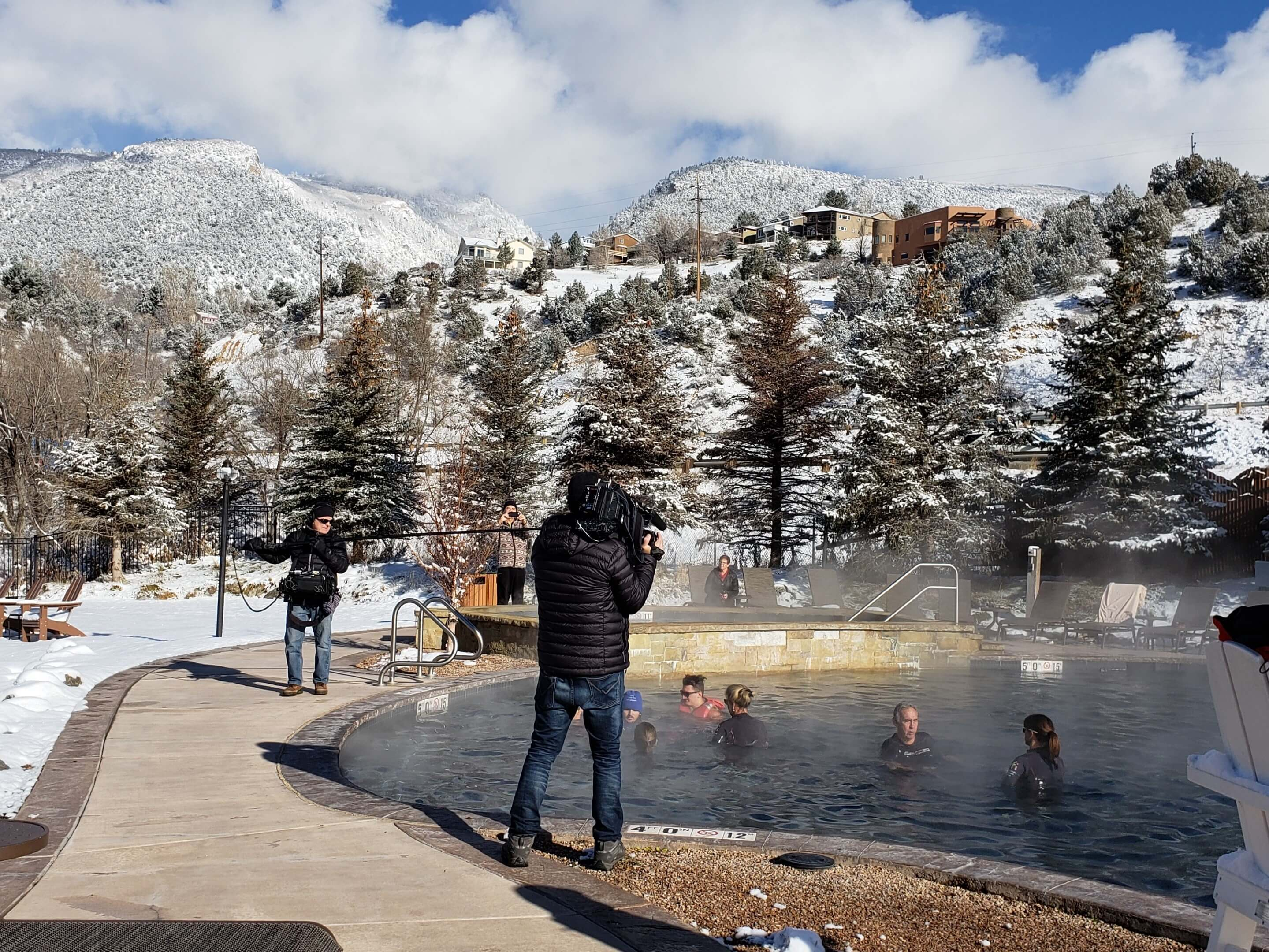 Today Show crew filming neuroplastic functional training at Iron Mountain Hot Springs