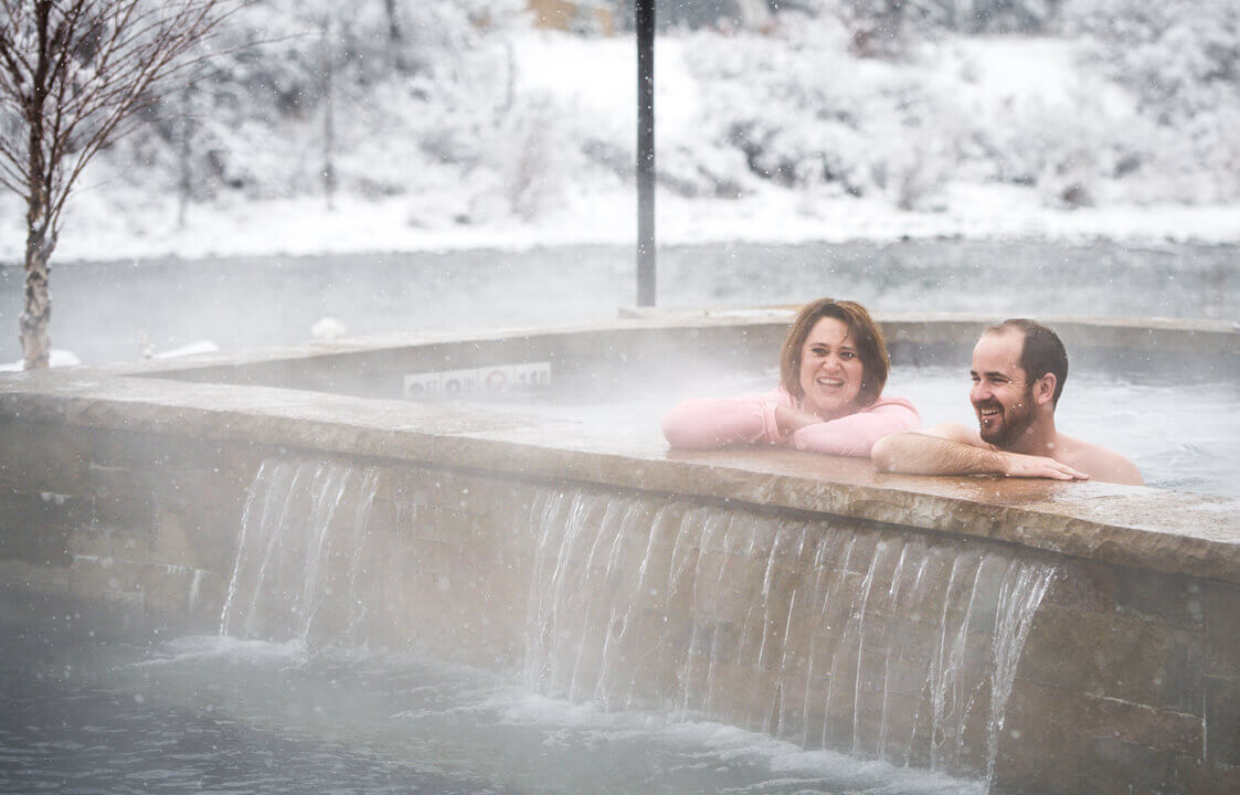 Enjoying soaking at Iron Mountain Hot Springs in winter