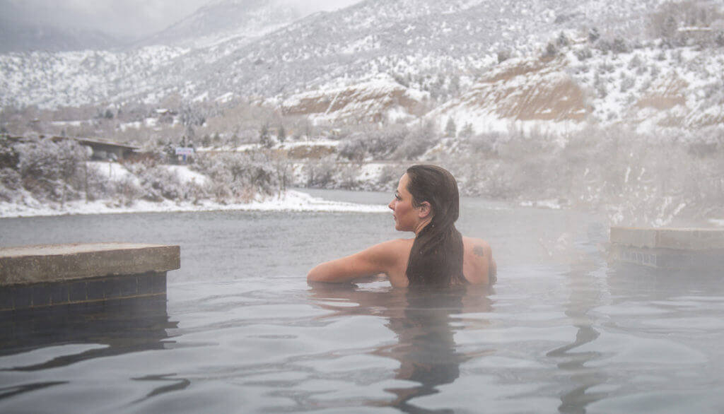 Winter is a great time to get some alone soaking time at Iron Mountain Hot Springs