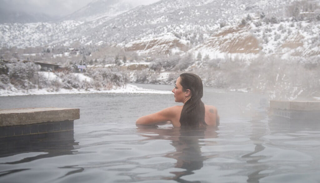 Relaxing in winter at Iron Mountain Hot Springs
