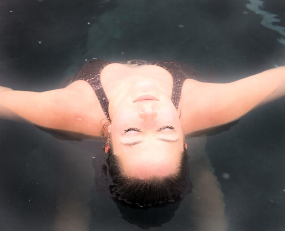 Woman relaxing at Iron Mountain Hot Springs
