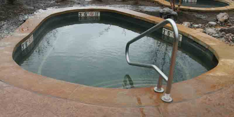 The Amber soaking pool with transfer rail