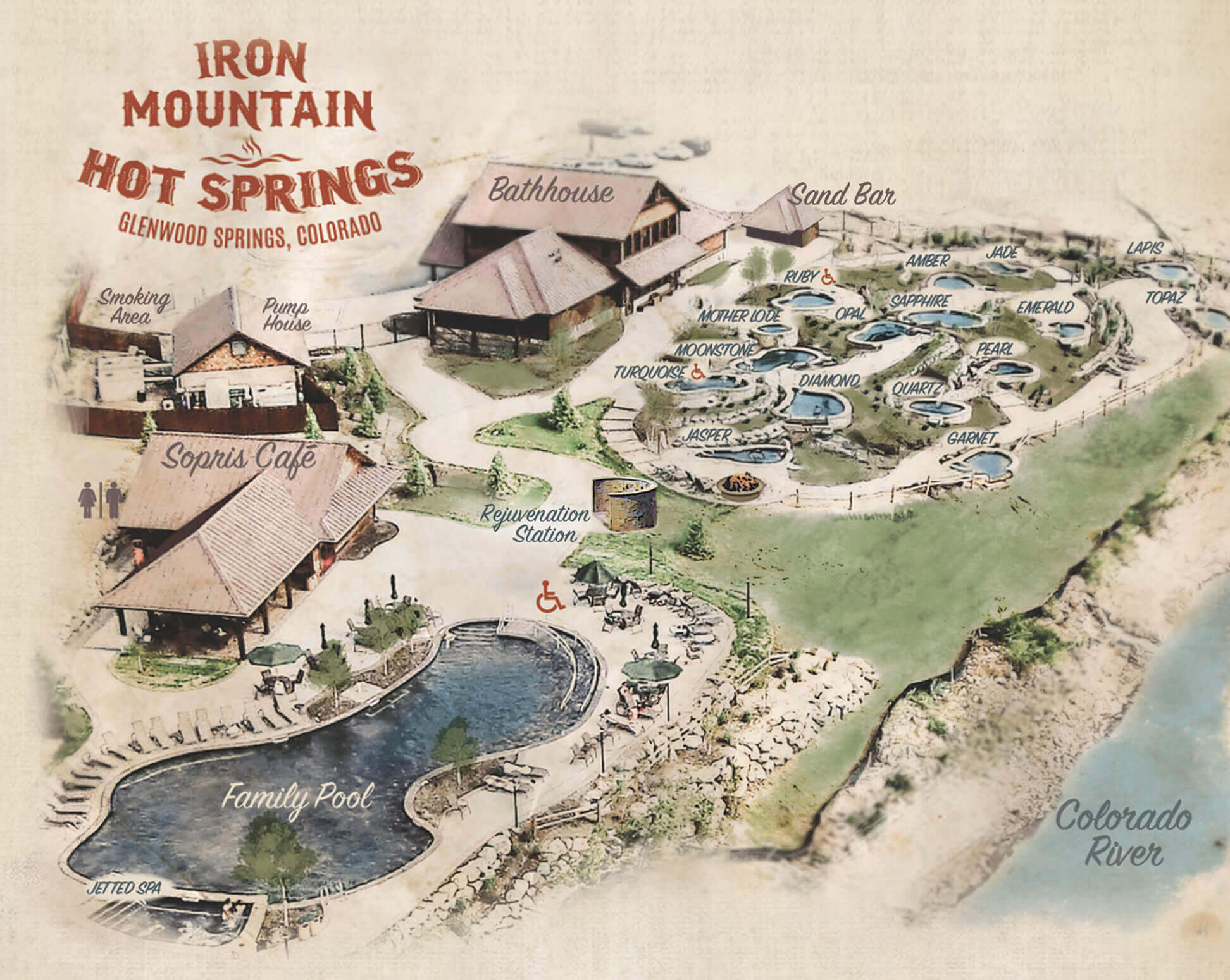 Iron Mountain Hot Springs pool map