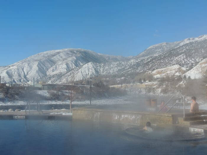 Soaking at Iron Mountain Hot Springs in winter